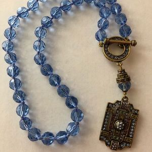 Heidi Daus Swarovski Crystal Blue Beaded Necklace
